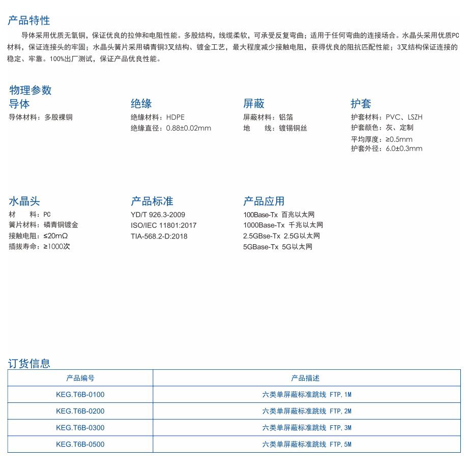 1-KEG.T6B系列   六类单屏蔽网络跳线.jpg